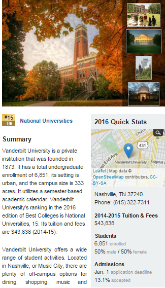 Vanderbilt University - Vanderbilt - Best College - US News.clipular