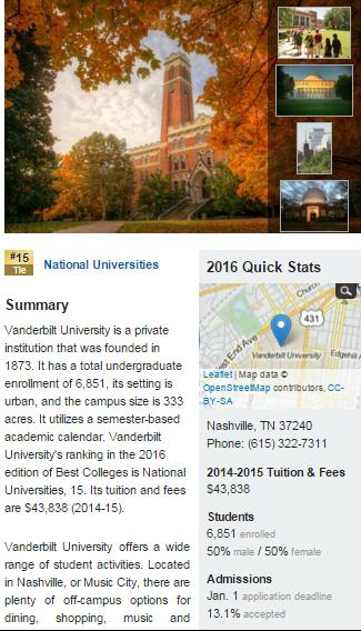 Vanderbilt University - Vanderbilt - Best College - US News.clipular
