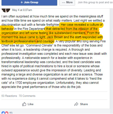 professionalism fire dept