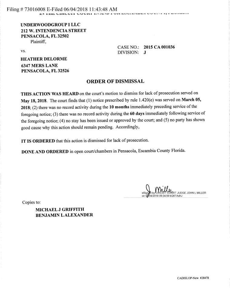 tanya civil dismissal
